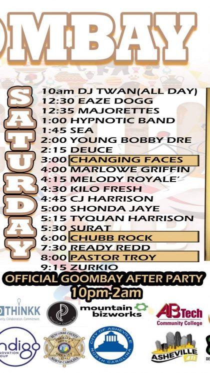 Goombay Schedule